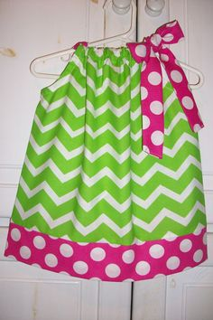 Pillowcase Dress CHEVRON Cherry Limeade Hot di lilsweetieboutique, $20,00