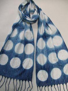 Cotton scarf, hand dyed indigo, gold, silver, bronze metallic threads, Japanese shibori, blue and white