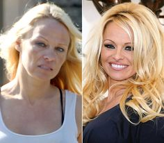 Pamela Anderson. On left: going to breakfast in Malibu on Oct. 4, 2012. On right: attending the FrogAds.com launch in West Hollywood on March 22, 2012