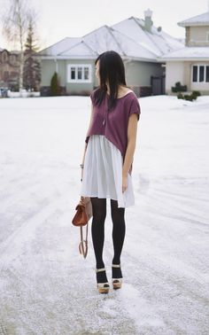 Oversized tee, sheer dress, and tights