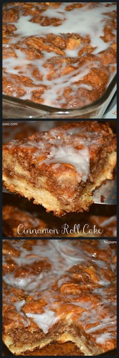 easy!! CINNAMON ROLL CAKE - mix 1 box yellow cake mix, 2 eggs, 1 stick melted butter. Pour in greased 13x9 pan, then for TOPPING 1 C butter soft, 1 C brown sugar, 2 T. flour, 1 T. cinnamon. pour over batter, and swirl with butter knife. GLAZE 2 cups