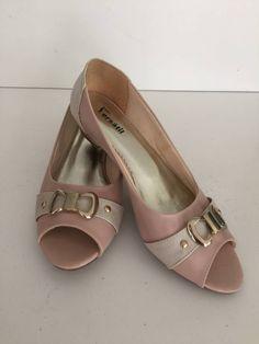 peep toe - salto 3cm - cor pele/rosa - tamanho 40 - sapatos sem marca
