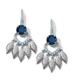 Caceres Earrings: As seen on the Red Carpet Blue Opal Cut Crystals with Montana Blue Resin in Matte Silver. Lifetime Guarantee
