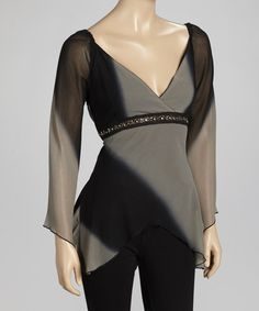 Take a look at this Black & Gray Rhinestone Sidetail Top by She's Cool on #zulily today! $18 !!
