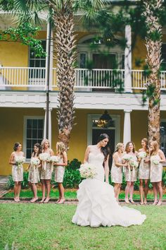 Gold Bridesmaids Dresses - Charleston Weddings - Pink & Gold William Aiken House wedding by W.E.D. & Hyer Images
