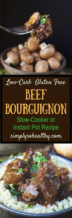 This recipe for Low-Carb Beef Bourguignon Stew can be made in an Instant Pot or a slow cooker. Ive altered this traditional French stew recipe so it can be part of a low-carb keto Atkins diabetic Paleo gluten-free grain-free or Banting Diet. Low Carb Keto, Low Carb Recipes, Crockpot Recipes, Cooking Recipes, Easy Recipes, Slow Cooking, Delicious Recipes, Healthy Recipes, Keto Foods