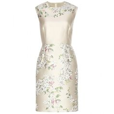 Giambattista Valli Brocade Dress (€840) ❤ liked on Polyvore featuring dresses, vestidos, short dresses, cocktail dresses, neutrals, white dress, white floral dress, floral print cocktail dress and white floral print dress
