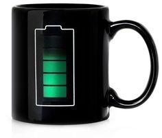 """Temperature-sensitive battery mug: """"the fuller the mug, the more potent the battery.""""  So very true."""