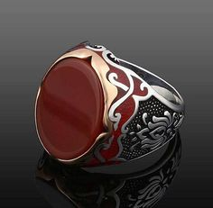 Rare 925 Argent Sterling corail rouge gemmes Handcrafted Ring Taille 7//8//9//10