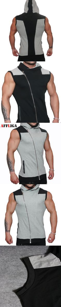 62cbc18fb47f 2017 Singlets Mens Fitness Cross Fit Tank Tops Muscle Brother Male Vest  Oblique Zipper Men s Sleeveless