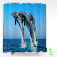 Cheap Dolphin jump on the sea Shower Curtain