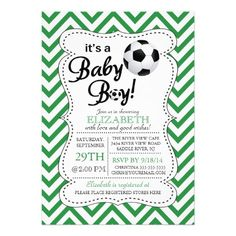 Modern Chevron It's a Baby Boy Soccer Baby Shower Invitations Invitation