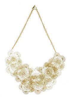 alessandra stabili crochet jewelry necklace 600x845 Alessandra Stabili Wire Crochet Jewelry: Gold Collection