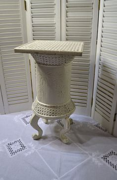 Vintage Wood Side Table Plant Stand White Wicker by LittlestSister, $52.50 #pcfteam