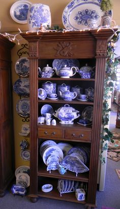 Blue and white... beautiful display of a collection!!