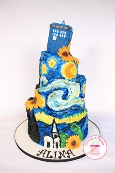 Starry Night Doctor Who cake Birthday cake ideas Pinterest