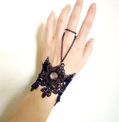 black gothic floral metal lace bracelet - large slave bracelet - goth boho floral - fabric jewelry gift