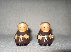 Vintage HUMMEL Goebel Friar Tuck Monk Figurine Salt & Pepper Shaker Set