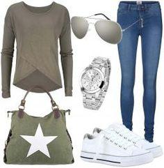 Hier ein Freizeit Outfit unter 150 Euro. Es besteht aus einem KhakiPullover, einer blauen SkinnyJeanshose und weißen Sneakers. Kombinieren kannst du dazu eine silberne Sonnenbrille und Armbanduhr sowie eine grüneStern-Handtasche. Weitere Outfits & Styles findest duhier.  #outfit #unter150euro #pullover #jeans #sneaker