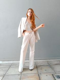 Ladies in Suits.White Pant suit by Marc Cain on www.chelf.net