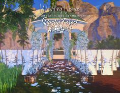 Rustic forest wedding venue at milja maison Rustic Forest Wedding, Rustic Wedding Venues, The Sims 4 Lots, Sims Building, Garden Venue, Sims 4 Cc Furniture, Sims 4 Build, The Sims4, Sims House