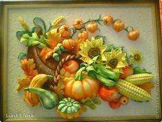 Картина панно рисунок Лепка Рог изобилия и панно для кухни Тесто соленое фото 1