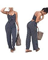 caa2728582bb Jeazi Women Sexy Striped Strap Lace up Backless Casual Style Vertical  Striped Jumpsuit Romper Blue M