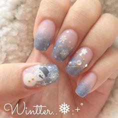 The sowman nails ; Christmas Nail Art, Holiday Nails, Cute Nail Art, Cute Nails, Girls Nails, Japanese Nails, Winter Nails, Nail Arts, Creative Art