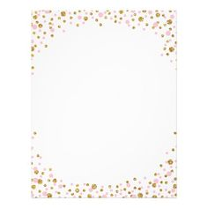 Gold Glitter And Pink Sprinkle Confetti Letterhead