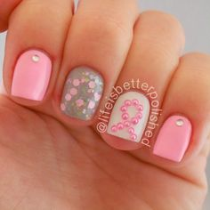 In absolute LOVE <3 with these Breast Cancer Awareness Nails #nails #nailart #breastcancerawareness #breastcancer #bcawareness #breastcancerawarenessmonth