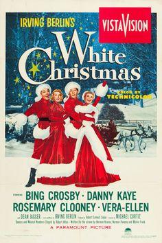 White Christmas (Paramount, 1954) movie poster. Starring Bing Crosby, Danny Kaye, Rosemary Clooney, and Vera Ellen.