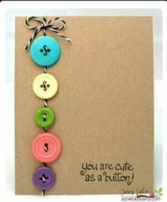 You Are Cute as a Button by jennysbugbites - Cards and Paper Crafts at Splitcoaststampers Kids Cards, Baby Cards, Tarjetas Diy, Button Cards, Button Button, Button Christmas Cards, You Are Cute, Handmade Birthday Cards, Diy Birthday