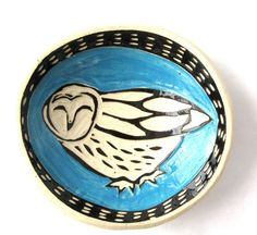 """Didn't this barn owl turn out great? From PumphouseStudios on Etsy This small dish could be a gift for a friend, a wedding """"thank you"""", or just perch on your table and look sweet!"""