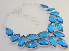 BLUE TOPAZ STONE stunning awesome look  .925 silver handmade necklace - free shipping (l)