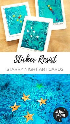 These gorgeous sticker resist starry night cards are unique and so fun to make. The quick process makes it easy to create multiple cards—great for holidays! #watercolors #watercolorsforkids #kidsactivities #artforkids #watercolorresist