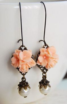 Salmon Pink Flowers Swarovski Crystal Ivory Pearls