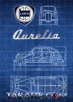 The blueprint of the Lancia Aprilla Berlina from 1937 Available as print (without copyright trademark) on a steel plate Disponibile come stampa (senza marchio di fabbrica) su una piastra di acciaio Erhältlich als Druck auf Stahlplatte (ohne Takahe copyright) unter