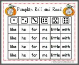 Pumpkin Roll and Read Sight Word Center Game product from Can-You-Read-It on TeachersNotebook.com