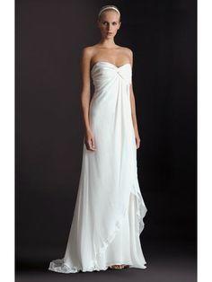 Chiffon Strapless Sweetheart A-line Wedding Dress