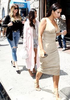Out to lunch: Kim, Khloe and Kourtney Kardashian enjoyed a meal together at Little Prince in SoHo on June 26, 2014 http://dailym.ai/1lsOaug