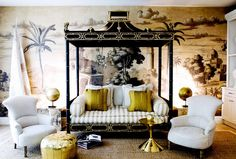 Designed by San Francisco-based interior designer Benjamin Dhong, this Cow Hollow, SF living room features a richly detailed panoramic mural wallpaper, a Chinoiserie-style pagoda bed, and. Home Interior, Interior Decorating, Decorating Ideas, Interior Ideas, Estilo Colonial, Asian Home Decor, Chinoiserie Chic, Cool House Designs, New Wall