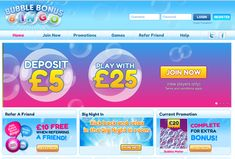 Bubble Bonus Bingo -- Deposit just £5 and get £20 free - plus a chance to pop bubbles in our Bubble Pop game for an extra £10 on top!