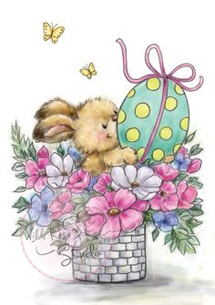 Wild Rose Studio Clear Stamp - Easter Bunny This adorable Easter Bunny image is perfect for your Easter cards. This bunny is cuddled in this pot of flowers with his Easter Egg. Easter Bunny Pictures, Easter Paintings, Easter Bunny Eggs, Bunnies, Easter Illustration, Bunny Drawing, Creation Photo, Vintage Easter, Easter Crafts