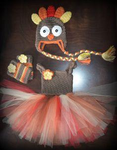 Crochet Turkey Costume Tulle Tutu Dress with Matching Hat & Legwarmers Baby Costume Handmade Photo P Crochet Tutu, Crochet Costumes, Baby Costumes, Love Crochet, Crochet For Kids, Crochet Baby, Thanksgiving Baby, Baby Sewing, Yarn Crafts