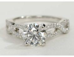 Infinity Twist Micropavé Diamond Engagement Ring in Platinum   Blue Nile