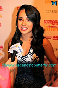 Singer Becky G gets interviewed on the Red Carpet by Nuevo Dia at the Cosmopolitan for Latinas Fun Fearless Awards 2014 in New York City!
