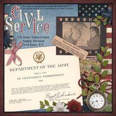 Civil Service...newspaper clippings and an Army Certificate are surrounded with patriotic memorabilia and embellishments. The pocket watch repeats the circle shapes in the clipping and the certificate and leads the eye through the layout. This handsome arrangement could also be framed and given as a gift.