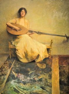 Thomas Wilmer Dewing - Girl with Lute 1905 at Smithsonian Freer Gallery of Art Washington DC by mbell1975, via Flickr