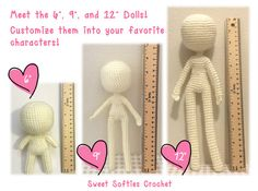 "Amigurumi Crochet Human Body Base Patterns - 6"" Chibi, 9"" and 12"" Slender Dolls (3-in-1 pattern pack, save 3 USD!)"