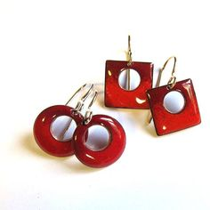 Petite red enamel earrings Small square or round red drops Enameled jewelry Dainty sterling silver, surgical steel or gold wire dangles